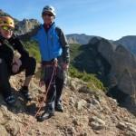 José Luis Rubayo y Ursi escalando en Riglos