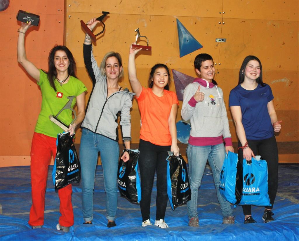 1. Rebeca Pérez, 2. Esther Priego, 3. Laura Pellicer, 4. Anne Vidal, 5. Sonia Marquier